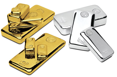 coins and bullion dealer collection of gold and silver bars